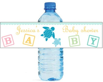 Mom and Baby Turtle Baby Shower Theme Water Bottle Labels Celebrations animal theme