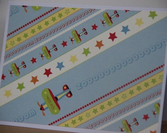 12 Airplane Note Cards.  Airplane card set.  Airplane Party Invitations. Airplane thank you cards. Boy stationery. Boy Card Set. Blank Cards