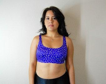 Purple Polka Dot swim top, Bra top, Swim suit top, Purple bra top