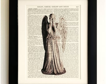 FRAMED ART PRINT on old antique book page - Weeping Angel, Doctor Who, Upcycled Wall Art Print Encyclopaedia Dictionary Page