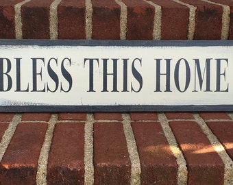 Bless this home - handmade rustic wall sign
