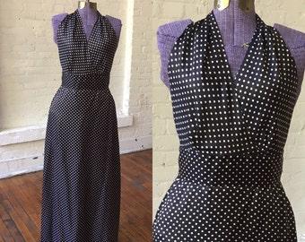 80s Gloria Sachs Black and White Polka Dot Halter Top Dress