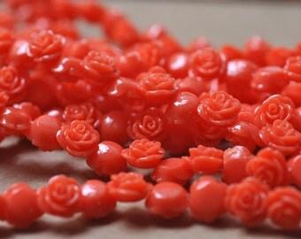 """Carved Red Resin Rose  Beads 10MM strand 16"""" Strand (40 roses)"""