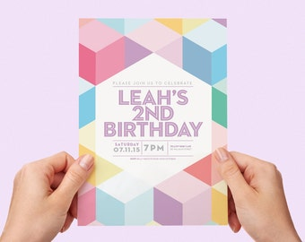 Colourful Kids Party Invite First birthday Baby Girl Invite Baby Boy Toddler Colorful 1st 2nd 3rd 4th 5th