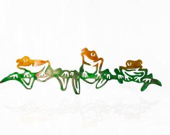 Aluminum Tree Frogs, Metal Wall Art, Metal Jungle Art, Herp Enthusiast, Frog Lover, Amphibian Art, Rainforest Frogs Wall Hanging