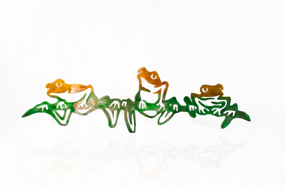 Aluminum Tree Frogs, Metal Wall Art, Metal Jungle Art, Herp Enthusiast, Frog Lover, Amphibian Art, Rainforest Frogs Wall Hanging