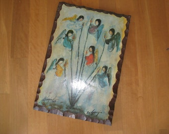 "Vintage 1970's Ted DeGrazia Laminated Framed Print, ""Angels and Octillos,"" Arizona Listed Artist, Darling Primitive, Native American Motif"