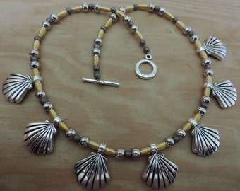 Silver and Gold Fan Necklace,  Silver Scallop Necklace,  Silver and Gold Necklace,
