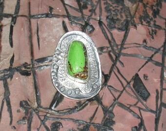 SILVER AND GASPEITE, silver stone pendant, gaspeite jewelry, contemporary jewelry, modern jewelry, rustic stone pendant, statement necklace