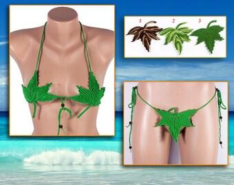 HOT Erotic Lingerie Mini Bikini,  Eve Suit, Dancewear,  Crochet Micro Thong Bikini, Wedding bikini by LoveKnittings
