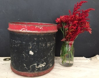 Breyer's Ice Cream Container - Vintage Galvanized Metal - Planter - Bucket - Pail - Industrial - Farmhouse - Rustic - Primitive - Bin