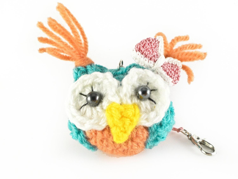 Amigurumi Owl Keychain : Handmade Crochet Owl Keychain Amigurumi Owl Keychain Funny