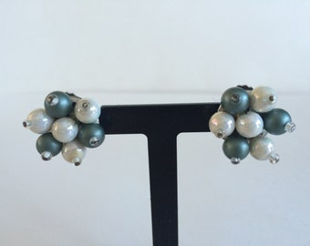 Vintage White and Blue Clip On Earrings Made in West Germany