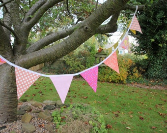 Bunting flags, Pink and peach bunting, nine flags front and back in beautiful pastel colour.