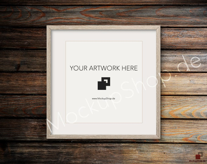 SQUARE MOCKUP FRAME on old dark wooden wall, Frame Mockup, Amazing brown photo frame mockup, Digital Download