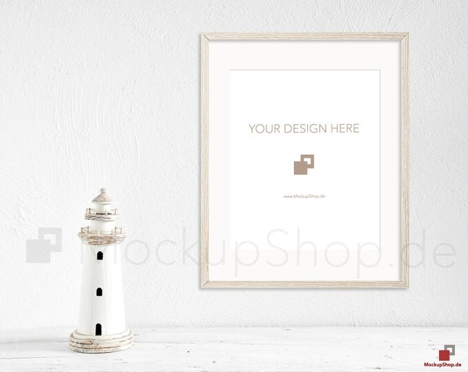 8x10 OLD FRAME MOCKUP wooden brown / set of 2 / with and without passe-partout / instant download / frame mockup / old wooden frame mockup