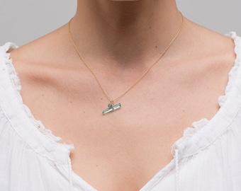 Blue Quartz Stick Necklace/Natural Blue Quartz Necklace/Blue Quartz stick necklace/Tiny Blue Quartz neckalce