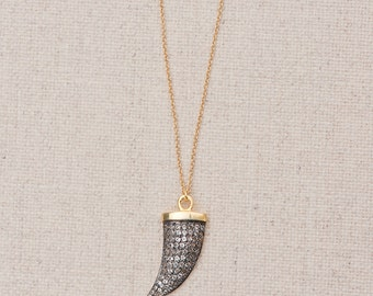 Pave Horn Pendant Necklace/Black Pave Horn Pendant/Pave Horn necklace
