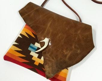Leather & Wool Crossbody