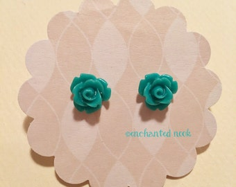 Teal Rose Earrings, Teal Rose Earrings, Teal Flower Earrings, Teal Floral Earrings