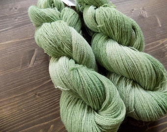 Hand Dyed Yarn, Lace Weight, Merino Wool / Suri Alpaca, Green