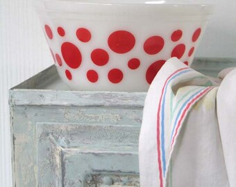 Federal Glass Red Polka Dot Mixing Bowl