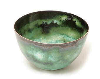 Enamelled bowl in swirly whites and greens.  Handmade by Karen Murrell.