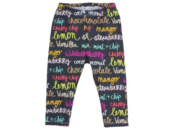 Colorful Ice Cream Flavor of the Day Leggings Toddler Leggings Girl Leggings Colorful Girl Pants Baby Gift Black Multicolor Baby Leggings