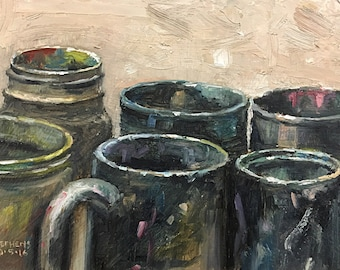 Containers #3, original daily oil painting by Craig Stephens