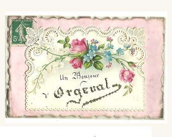 French Antique Embossed Die Cut Embroidered Postcard Pink Blue Card Forget-Me-Not Rose Illustration Bonjour Hello From Orgival Scrapbooking