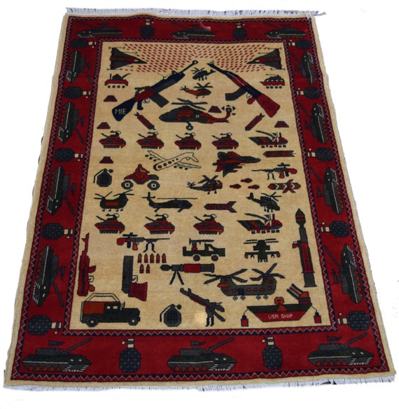 5'8x3'10ft War Weapons Handmade Rug Afghan War Rug
