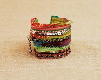 Boho Chic, Color Bracelet, Cool Hipster, Gypsy Braceltes, Colorful Cuff, Bracelet Zipper, Hipster Cuff, GypsyBracelet, Boho Chic