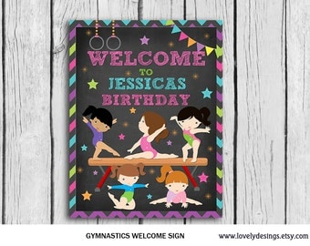 Gymnastic Party Sign Chalkboard Personalized  ,Printable Gymnastics decor,Gymnastics party favor,Welcome Sign,Party Printable