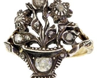 Antique Georgian Victorian 1820s Yellow Gold & Silver Diamond Flower Basket Ring