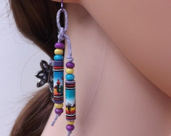 Ceramic earrings, Peruvian beads, long beads, knotted ceramic earrings, niobium wires