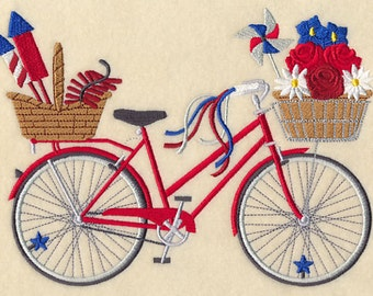 FOURTH OF JULY Bike Red White & Blue Patriotic Ride Fireworks Bicycle Machine Embroidered Quilt Square