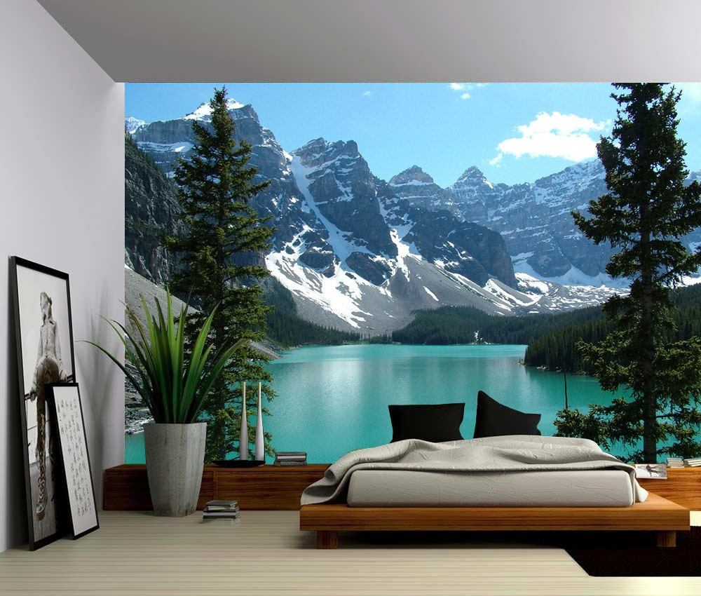 Canada banff rocky mountain lake large wall mural for Big wallpaper for wall