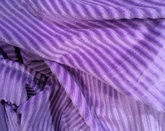 Striped minky fabric - lavender