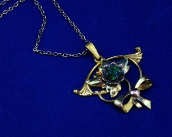 Vintage gold flower pendant gold filled necklace Harry Iskin jewelry
