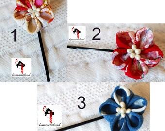 Japanese clip hair with kanzashi Japanese fabric flower