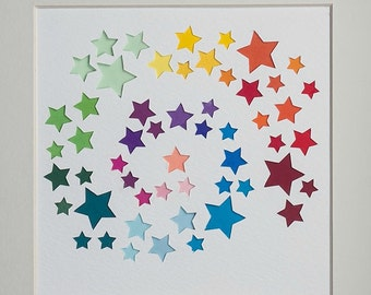 Original framed papercut art - rainbow coloured starburst