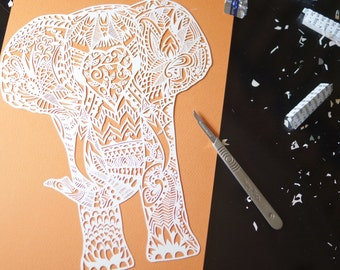 Printed 'Humphrey elephant' template for paper cutting-physical copy.