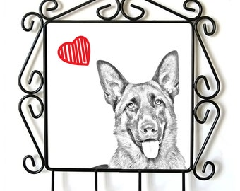 German Shepherd- clothes hanger with an image of a dog. Collection. Dog with heart.