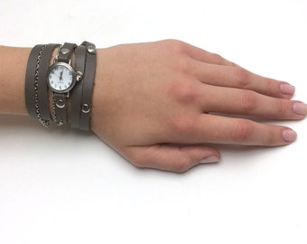 Small Watch|Wrap Watch In Brown Leather Strap|Watch|Women Watches|Womens Watches|Wrap Watch|Wrist Watches|Brown Wrap Watch|Sigal Jewelry