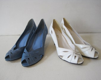 """CALICO Dress Shoes Size 8.5M Heel 3"""" Women's Ladies Leather Upper Vintage LOT of 2 A1065Bz"""