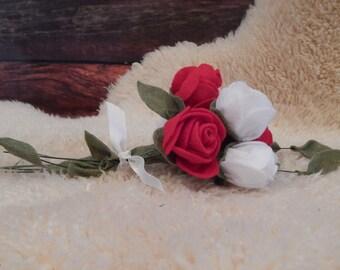 Rustic Wedding Bouquet - Felt Flowers, Roses, Valentines Day