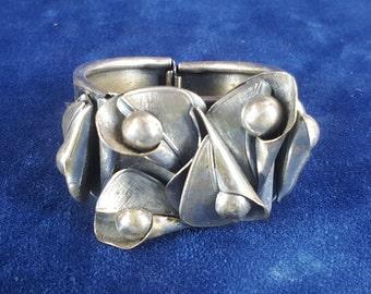 Vintage silver tone cuff bracelet with calla lillies