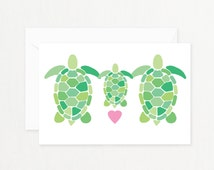 """Turtle Family Greeting Card: """"TURTLE FAMILY"""" with Pink Heart Printable Card for New Baby, Baby Shower, New Mother Postcard"""
