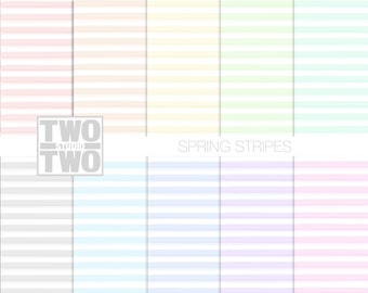 "Striped Digital Paper: ""SPRING STRIPES"" Hand Painted Patterns in Pink, Yellow, Orange, Blue, Green, Gray, and Purple, Watercolor Background"