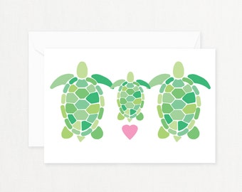 "Turtle Family Greeting Card: ""TURTLE FAMILY"" with Pink Heart Printable Card for New Baby, Baby Shower, New Mother Postcard"